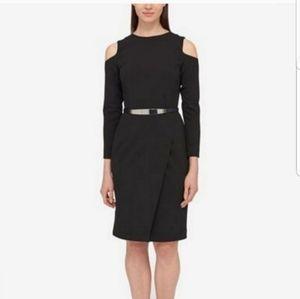 DKNY Cold Shoulder Belted Sheath Dress in Black